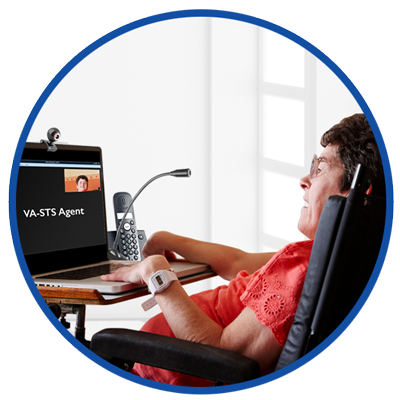 VA-STS user on a wheelchair with a laptop and webcam